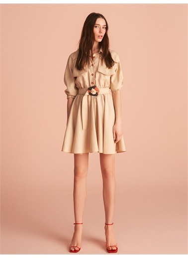 Nocturne Gömlek Yaka Mini Elbise Bej